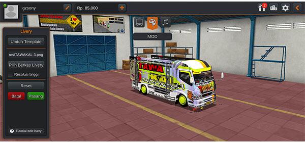 mod bussid truck canter livery keren