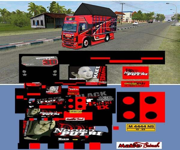 livery canter merah hitam
