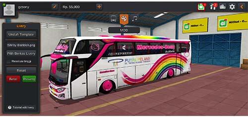 Download Livery Bus Bussid putra pelangi