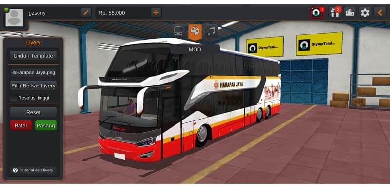 mod bussid bus harapan jaya