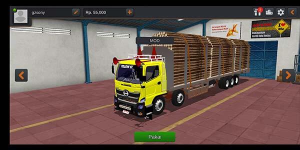mod bussid truck tribal muatan berat kayu