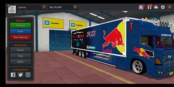 mod truck bussid tribal muatan berat red bull
