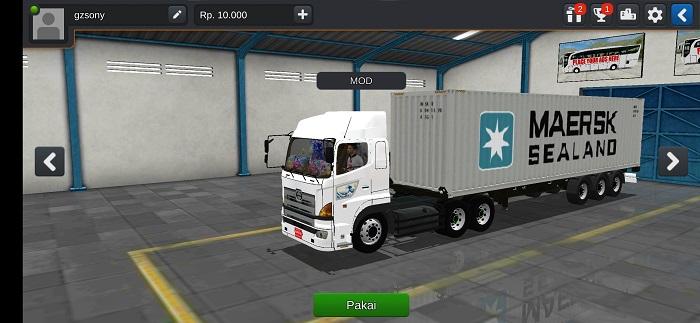 mod bussid truck hino 700 trailer