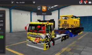 Truck Fuso Trailer Muat Hitachi Excavator