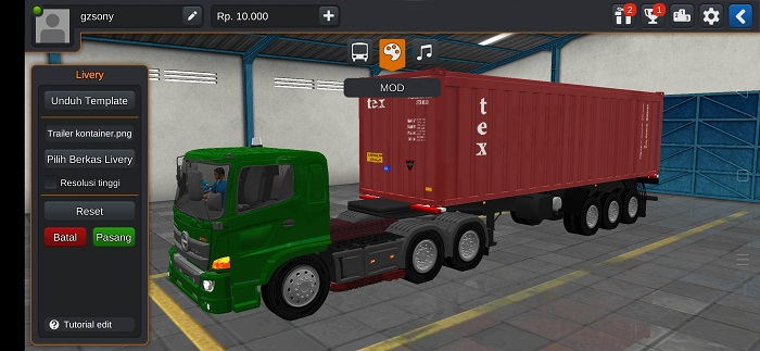 mod bussid hino trailer kontainer