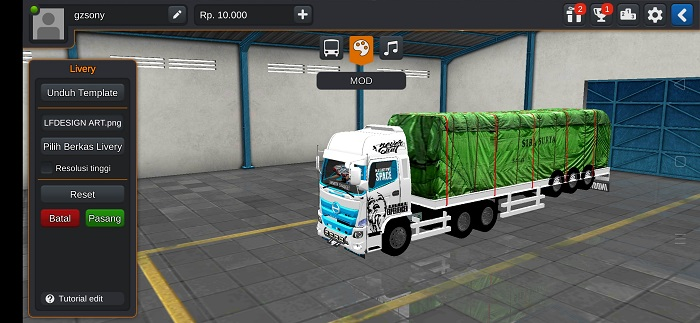 mod bussid truck hino terpal 3d
