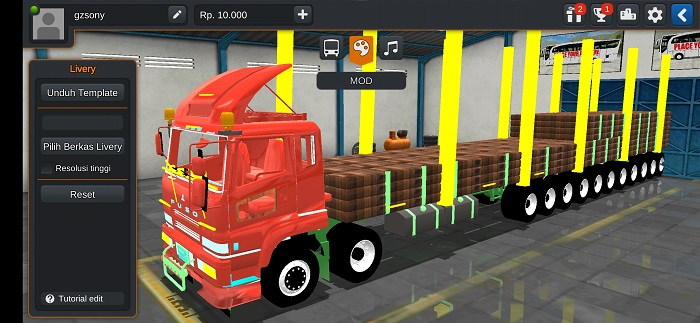 mod truck fuso long chasis bussid
